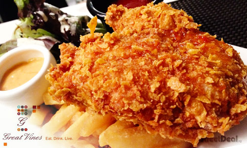 64% off Golden Flakes Chicken Chop with Fries @ Great Vines