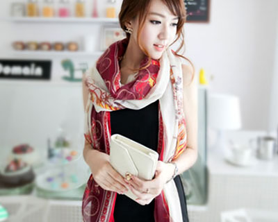 Stylish Korean Patterned Scarves (2-Pcs)