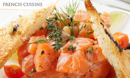 45% OFF Salmon Duo Plate : Salmon Carpaccio & Salmon Tartare + Green Salad at Le Petit Navire, Club Street