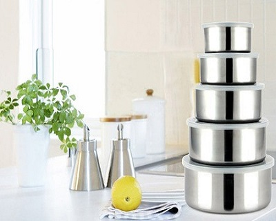 5 Stainless Steel Food Containers