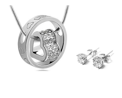 White Gold Plated Heart Pendant Duo Set